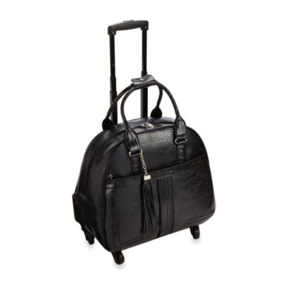 Hang Accessories Boho Chic Trolley Bag with 360-Degree Wheels in Black