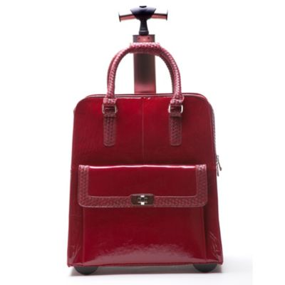 Jacqueline Trolley Bag with 360-Degree Wheels in Crimson Rose