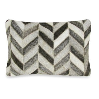 Herring Bone Patched Leather Rectangular Decorative Pillow