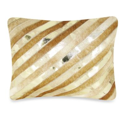 Diagonal Striped Leather Oblong Throw Pillow