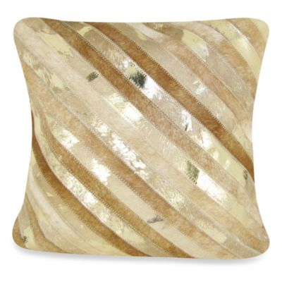 Diagonal Striped Leather Square Throw Pillow