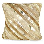Diagonal Striped Leather Square Toss Pillow