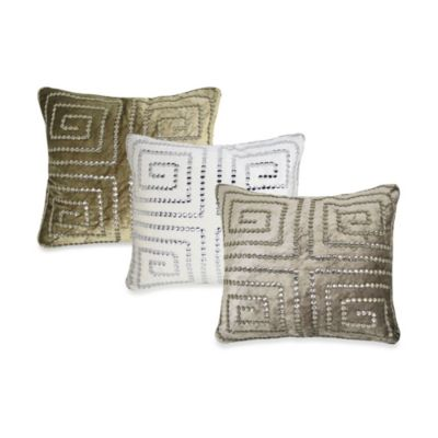 Greekie Jewels Velvet Square Throw Pillow in Light Brown