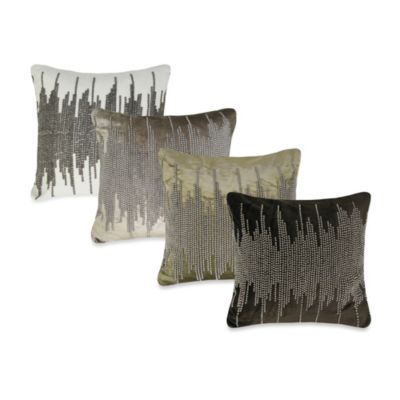 NYC Shore Velvet Square Throw Pillow in Chocolate