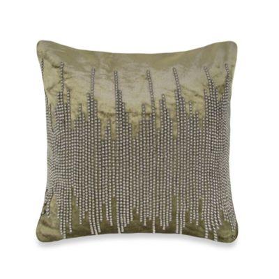 NYC Shore Velvet Square Throw Pillow in Light Brown