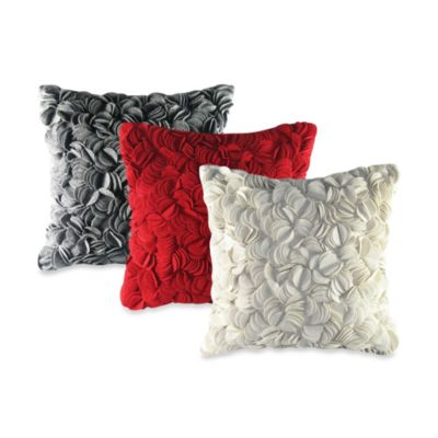 Felt Wafer Square Throw Pillow in Red