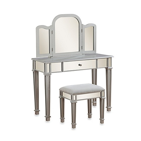 Buy linon home annalisa vanity set from bed bath beyond for Mirrored bathroom set
