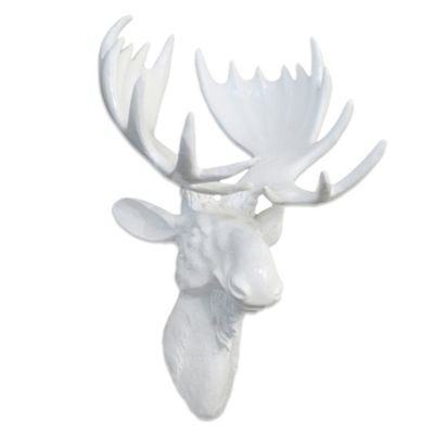 Resin Moose Head Wall Art in White