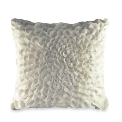 Felt Puffy Dahlia Square Toss Pillow in Ivory