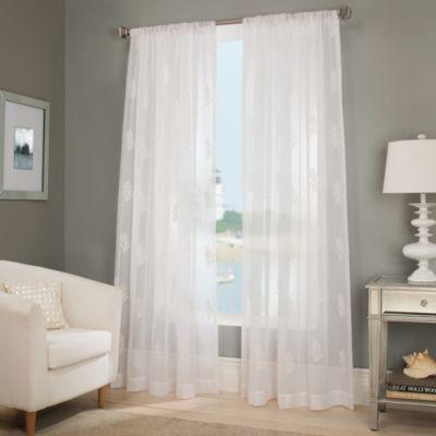 "Reef 63"" Sheer Window Curtain Panel in White"