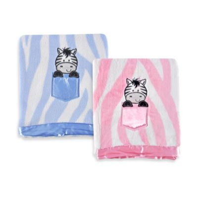 Tadpoles Zebra Print Blanket with Applique in Pink