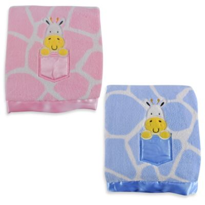 Tadpoles Giraffe Print Blanket with Applique in Blue