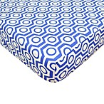 TL Care® Cotton Percale Crib Sheet in Royal Hexagon