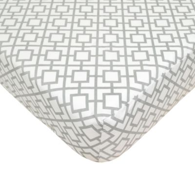 TL Care® Cotton Percale Crib Sheet in Grey Lattice