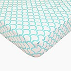 TL Care® Cotton Percale Crib Sheet in Aqua Waves