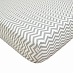 TL Care® Cotton Percale Crib Sheet in Grey Zigzag