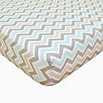 TL Care® Cotton Percale Crib Sheet in Blue/Grey Zigzag