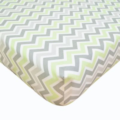 TL Care® Cotton Percale Crib Sheet in Celery/Grey Zigzag