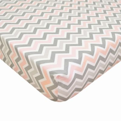 TL Care® Cotton Percale Crib Sheet in Pink/Grey Zigzag