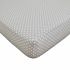 TL Care® Cotton Percale Crib Sheet in Grey/White Dot