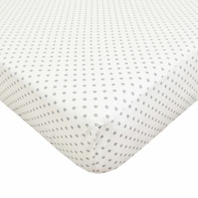 TL Care® Cotton Percale Crib Sheet in White/Grey Dot