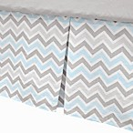 TL Care® Cotton Percale Tailored Bed Skirt with Pleat in Blue/Grey Zigzag