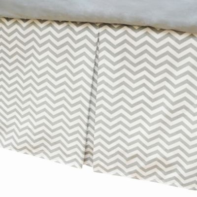 TL Care® Cotton Percale Tailored Bed Skirt with Pleat in Grey Zigzag