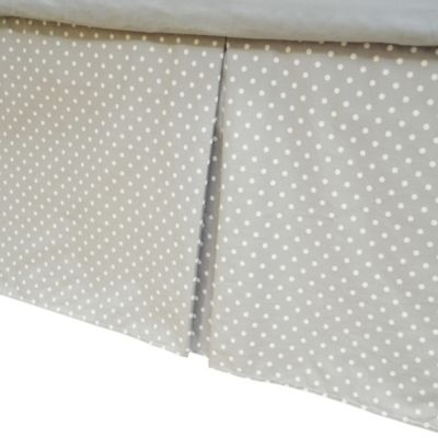 TL Care® Cotton Percale Tailored Bed Skirt with Pleat in Grey with White Dots