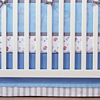 BreathableBaby® Crib Skirt in Blue and Grey Stripe