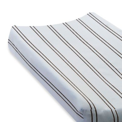 Go Mama Go Designs Striped Changing Pad Cover in Blue/Chocolate