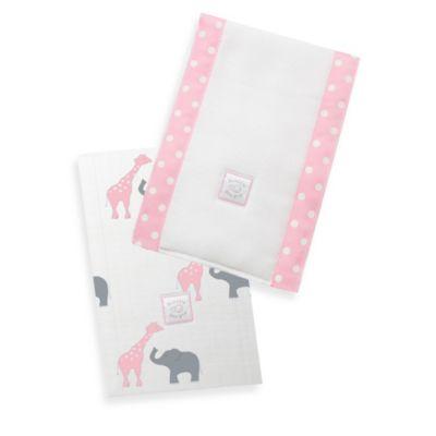 Swaddle Designs® Safari Fun Baby Burpies in Pink (Set of 2)