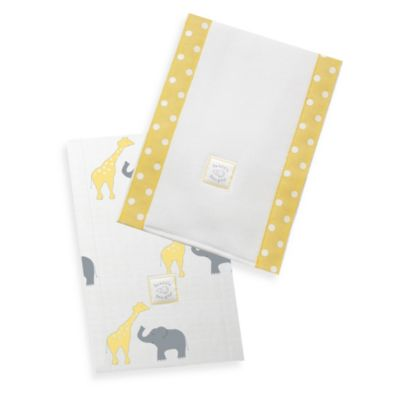 Swaddle Designs® Safari Fun Baby Burpies in Yellow (Set of 2)