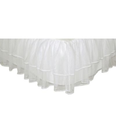 Tadpoles Tulle Triple Layer Twin Bed Skirt in White