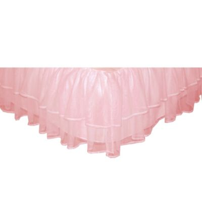 Tadpoles Tulle Triple Layer Twin Bed Skirt in Pink