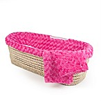 Tadpoles Twisted Fur Moses Basket Set in Dark Pink