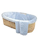 Tadpoles Dimple Velour Moses Basket Set in Blue