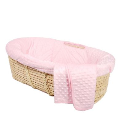 Tadpoles Dimple Velour Moses Basket Set in Pink