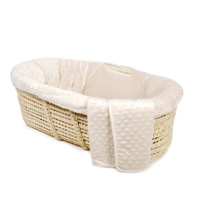 Tadpoles Dimple Velour Moses Basket Set in Natural