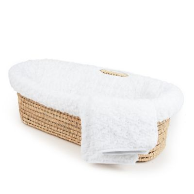 Tadpoles Twisted Fur Moses Basket Set in White