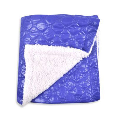 Tadpoles Quilted Nylon Puffer Baby Blanket with Sherpa Backing in Royal Blue