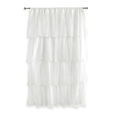 Tadpoles Tulle Window Curtain Panel in White