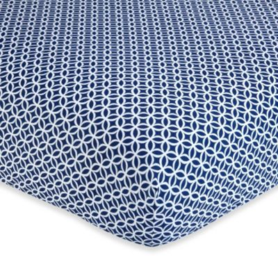 Wendy Bellissimo™ Mix & Match Geometric Fitted Crib Sheet in Navy/White