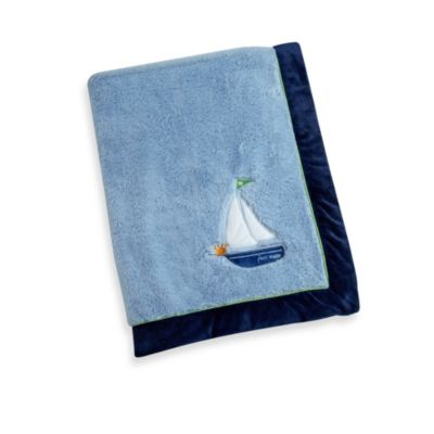 Baby Blankets > Wendy Bellissimo™ Mix & Match Sailboat Applique Plush Blanket in Blue