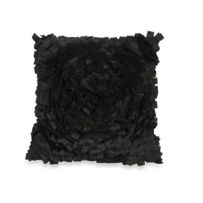 Cabbage Rose Square Throw Pillow in Black