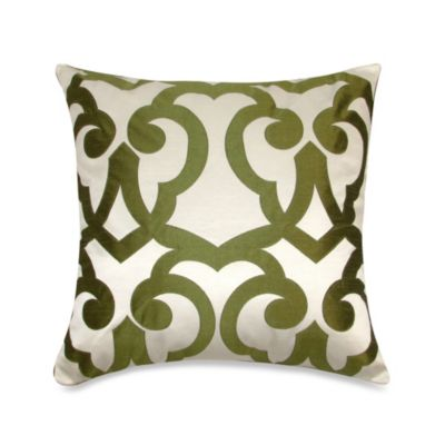Barcelona Laser Square Throw Pillow in Cream/Lime