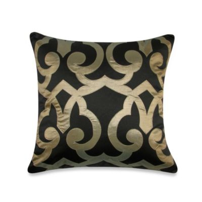 Barcelona Laser Square Throw Pillow in Black/Antique Gold