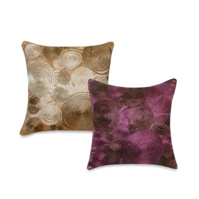 Pinwheel Cord Square Throw Pillow in Plum