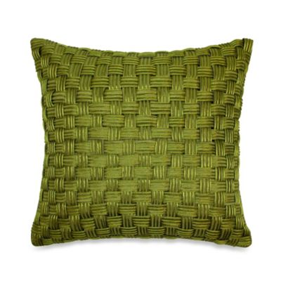Basket Weave Cord Square Throw Pillow in Lime