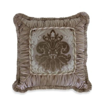 Austin Horn Classics Minuet 18-Inch Shirred Fringed Square Throw Pillow