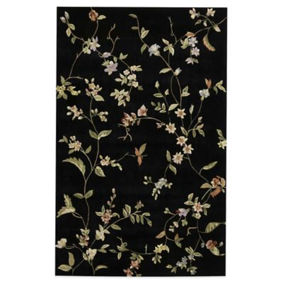 Rugs America Flora 5-Foot x 8-Foot Rug in Misty Black